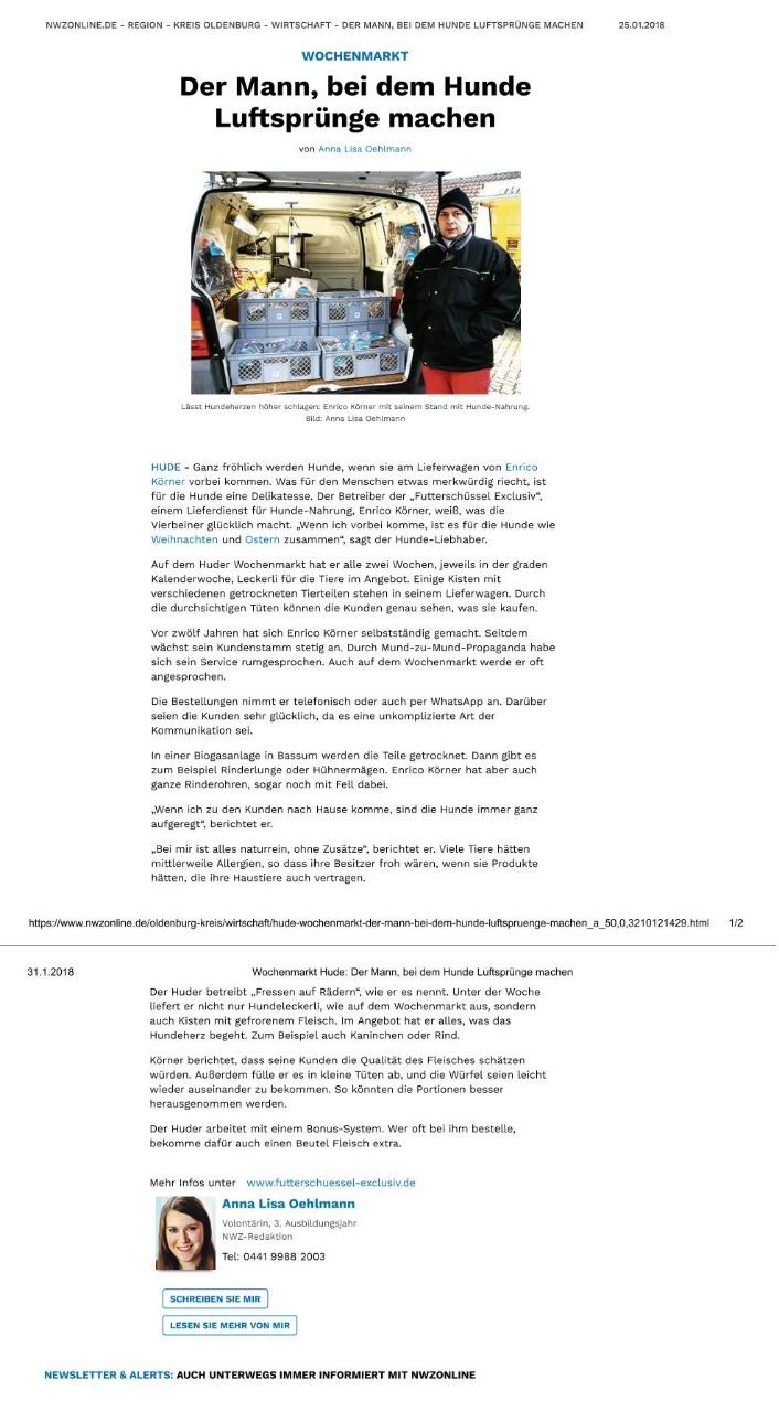 Futterschüssel in der NWZ zum Wochenmarkt Hude 2018